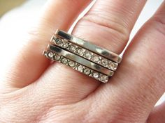Vintage Silver and Diamond Rhinestone 4 Ring Set - Size 8 - Vintage Jewelry by FembyDesign
