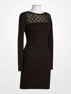 Calvin Klein Black Crocheted Bodice Knit Dress $49.99 #designer #littleblackdress #lbd #deal #lace #longsleeve #womens #fashion