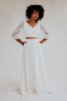 Lace long sleeved wedding top and long skirt by Rolling in Roses - Sustainable + Ethical Wedding Dresses Using Eco-Friendly Fabric + Peace Silk Bridal Gowns, Wedding Gowns, Bridal Separates, Wedding Suits, Wedding Styles, Wedding Ideas, Bridal Style, Dress To Impress, Fashion Forward