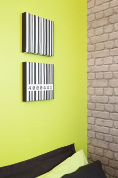The final reveal! A zingy lime green wall teamed with cool exposed brick wallpaper and wallpaper covered canvases for this teenage boys bedroom. Decorating products are available in New Zealand through Guthrie Bowron stores. Exposed Brick Wallpaper, Brick Wallpaper Bedroom, Boys Wallpaper, Brick Bedroom, Bedroom Color Schemes, Bedroom Paint Colors, Home Decor Bedroom, Bedroom Boys, Bedrooms