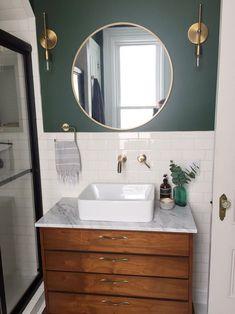 Bathroom with vintage mid-century dresser turned vanity Upstairs Bathrooms, Downstairs Bathroom, Bathroom Renos, Small Bathroom, Bathroom Ideas, Teal Bathroom Decor, Paris Bathroom, Ocean Bathroom, Lavender Bathroom