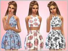 Floral Dresses by SweetDreamsZzzzz at TSR via Sims 4 Updates