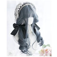 This stunning dark midnight blue / silver wavy gothic lolita wig combines a sweet fringe with a dark lolita inspired aesthetic- Gorgeous! This stunning cosplay wig is made of ultra soft and realis… Pelo Lolita, Lolita Hair, Lolita Dress, Lolita Makeup, Cosplay Hair, Cosplay Wigs, Kawaii Hairstyles, Cute Hairstyles, Kawaii Wigs