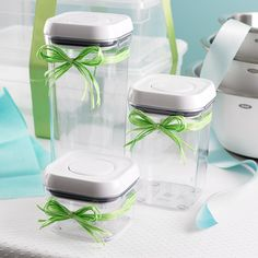 "Brides! Have you registered for our 4"" Square POP Canisters yet?"