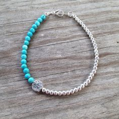 Turquoise and Silver Simple Beaded Bracelet on Etsy, $10.00