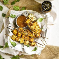 Mustard Grilled Tofu Satay - Take your grill game to the next level with these amazing, and flavorful mustard grilled tofu skewers. Fast Healthy Meals, Easy Healthy Recipes, Whole Food Recipes, Healthy Snacks, Vegetarian Recipes, Healthy Eating, Yummy Recipes, Grilled Tofu, Extra Firm Tofu