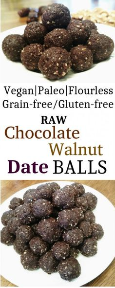 I love balls. They're the perfect size to pop in your mouth. Smooth & round & squishy. Chocolate walnut date balls: paleo vegan RAW grain-free flourless