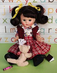 """Storytime with kitty""...a blouse, skirt, & vest outfit designed for Ginny, Muffie, and Madame Alexander 7.5"" Dolls. Newly created and at my website www.karmelapples.com for instant purchase. 3 Pieces here, your Ginny needs this! SOLD!"