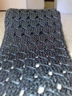 Squinty: FREE KNIT PATTERN - (FREE) Sand Dune Scarf. AST ON 32.  row 1: SL1, *SL1, K3, PSSO*; Repeat(sl1, k3, psso) knit to last 2 stitches, K2  row 2: SL1, *P3,YO (wyib)*, P3; Repeat(p3, yo(wyib) to last 3 stitches, P3  row 3: SL1, *Knit to end*  row 4: SL1, *Pearl to end*