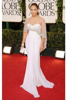 Jennifer Lopez 2011 Golden Globe Awards White Chiffon Dress
