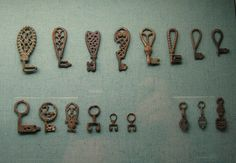 An assortment of Viking age keys. From Eva Grelsdotter's Flickr; I'm not sure which museum houses them.