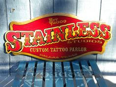 Image detail for -Hand Painted Dallas Tattoo Sign | Hand Painted Signs Dallas Fort Worth ...