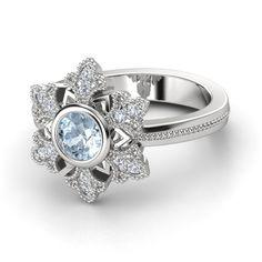 Round Aquamarine Sterling Silver Ring with Diamond | Snowflake Ring | Gemvara