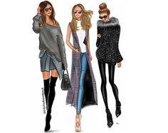 Groupe de 7 Illustration de mode sur mesure par LilyFashionSketch