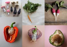 crocheted vegetables