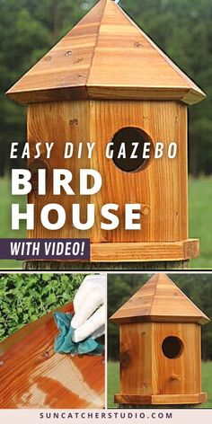 Free DIY Bird House Plans To Make a Gazebo Nesting Box. This gorgeous Gazebo Nesting Box will be perfect for your backyard. EASY to make for beginners and kids. Learn how to make a homemade bird box. This unique design will add a nice aesthetic to your garden and will be perfect to house the most beautiful birds like Blue Birds & Wrens and attract them to your backyard. Diy Projects For Beginners, Cool Diy Projects, Project Ideas, Wood Projects, Diy Gazebo, How To Waterproof Wood, Bird House Plans, Bird Houses Diy, Beautiful Home Designs