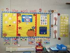 Classroom wall, fall decorations are up!