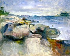 bofransson: Beach Edvard Munch - 1888. During these early years in his career, Munch experimented with many styles, including Naturalism and Impressionism. Some early works are reminiscent of Manet. Many of these attempts brought him unfavorable criticism from the press and garnered him constant rebukes by his father, who nonetheless provided him with small sums for living expenses