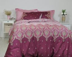 Damask Bedding in Dusty Pink, Maroon, Marsala for Full Queen King, Cotton Sateen Moroccan Style, Boh Damask Bedroom, Damask Bedding, Boho Bedding, Custom Bedding, Luxury Bedding, Master Bedroom, Full Duvet Cover, Duvet Cover Sets, Teal And Pink