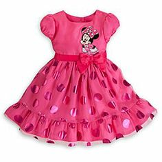 Disney Minnie Mouse Foil Dress for Girls | Disney StoreMinnie Mouse Foil Dress for Girls - She'll see spots before her eyes with this Minnie Mouse dress for girls. Large pink foil polka dots and bow add Minnie's signature style to this dress with its layered skirt of satin and tulle.