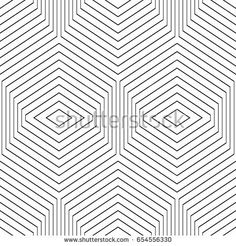 Repeated black figures on white background. Seamless surface pattern design with hexagons and rhombuses. Mosaic tiles motif. Repeated polygons tessellation background. Ethnic wallpaper. Digital paper.