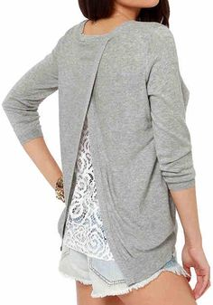 Grey Patchwork Lace Long Sleeve Acrylic Sweater