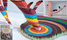 Artist uses thousands of crayons to create mesmerizing sculptures #DailyMail