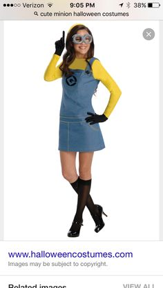Adult Minion Costume - Despicable Me 2 - Party City.I could so be a minion lol :) Adult Minion Costume, Despicable Me Costume, Despicable Me 2 Minions, Minion Costumes, Sexy Halloween Costumes, Adult Costumes, Cartoon Costumes, Halloween City, Women Halloween