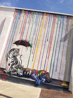 Artist: Be Free Foto via Street Art in The United States Best Street Art, Amazing Street Art, Pablo Picasso, Tiger Art, Tiger Tiger, Street Art Graffiti, Outdoor Art, Chalk Art, Urban Art