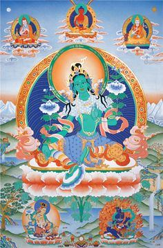 Green Tara with Lineage Gurus - Tharpa Art Buddhism Symbols, Buddhist Teachings, Buddhist Art, Tibetan Art, Tibetan Buddhism, Meditation Images, Bodh Gaya, Thangka Painting, Indian Goddess