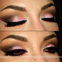 Eyeshadows are into Neutral Eyes palette by @tarte cosmetics ♥  Glitter is baby pink from Glittermania NYX ♥#auroramakeup