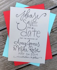 Save the Date Wedding Announcement by GreySnailPress on Etsy, $1.75