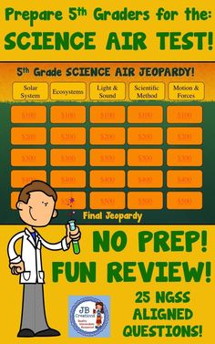 Prepare 5th grade students for the Ohio Science AIR test by engaging them in this prep free, interactive Jeopardy game reviewing key topics in the areas of space, life, physical, and scientific methods found in the new generation Science learning standards!  25 questions covering key vocabulary, concepts, and skills are arranged in a colorful game board!  https://www.teacherspayteachers.com/Product/5th-Grade-Science-AIR-Test-Prep-Jeopardy-Game-3083447