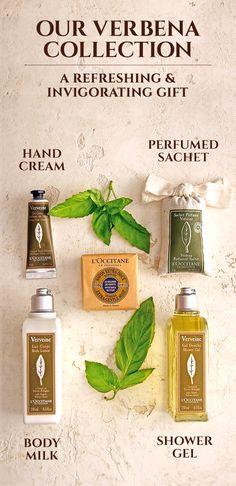 Our Verbena Collection: A Refreshing & Invigorating Gift Hand Cream Eau de Toilette Body Milk Shower Gel Perfumed Sachet