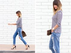 dreams + jeans - Blog - i like your style You can't go wrong with a great striped tee, boyfriend jeans, classic heels + a touch of leopard!