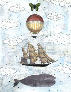 Whale Art Print , Balloon Art , Mixed Media Collage Art , Whimsical Painting Reproduction ,  5x7. $15.00, via Etsy.