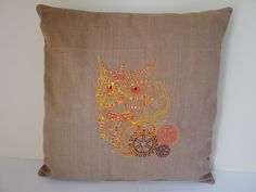 Detailed Embroidery Embroidery on Back of Cushion Quality fabric None removable cover Size: Square Owl Cushion, Cover Size, Upcycle, Steampunk, Reusable Tote Bags, Cushions, Throw Pillows, Embroidery, Sewing