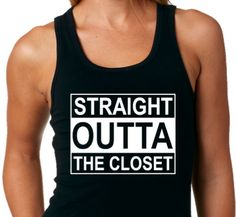 PRIDE TANK TOP Straight Outta The Closet Funny Gay by ALLGayTees