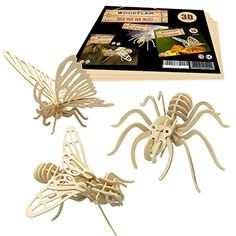 WoodFlair Wooden Puzzle, Set of Insect Wooden Jigsaw Puzzles, 3d Puzzles, Bug Toys, Stocking Stuffers For Kids, Animal Sculptures, Insects, Diy Crafts, Projects, Project Ideas