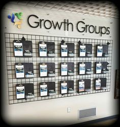 I designed this Growth Groups/ small groups wall. Church Lobby, Church Foyer, Church Office, Church Interior Design, Interior Design Pictures, Church Stage Design, Info Board, Church Welcome Center, Church Outreach