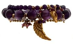 Bead Bracelets with Amethyst and Gold Angel Wing Charms