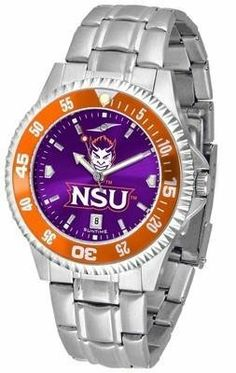 Northwestern State University Men's Stainless Steel Dress Watch by SunTime. $88.95. Stainless Steel. Men. Links Make Watch Adjustable. AnoChrome Dial Enhances Team Logo And Overall Look. Officially Licensed Northwestern State Demons Men's Stainless Steel Dress Watch. Northwestern Demons men's stainless steel watch. College dress watch with rotating bezel color-coordinated to compliment your favorite team logo. The Competitor Steel utilizes an attractive and secure stainles...