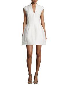TAPTY Halston Heritage Structured Cap-Sleeve Dress, Bone