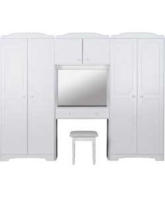 Nordic Wardrobe Fitment and Stool - White.