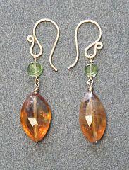 Victorian 227 Peridot & Citrine Earrings by CalicoJunoJewelry, $32.00