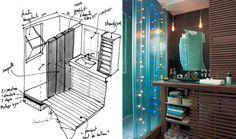 Dans 3.60 m² cette mini-salle d'eau accueille une grande douche à l'italienne (70×170) un plan vasque, la chaudière (dans le meuble de droite) ainsi que le lave linge (sous la chaudière). La paroi est montée en U de verre (Profilit de chez Pilkington). Sur les murs : pâte de verre (2×2) et ardoise. Au sol parquet Cumaru rouge.