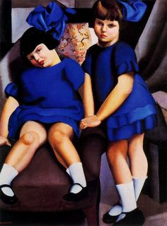 Two Little Girls w/ Ribbons, 1925 ~ by Tamara de Lempicka Polish born American Art Deco painter. Art Deco Artists, Art Deco Paintings, Oil Paintings, Isadora Duncan, Pinturas Art Deco, Tamara Lempicka, Ultramarines, Moda Art Deco, Illustration Photo