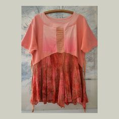 Women's loose  tunic boho knitted tunic gypsy pink red
