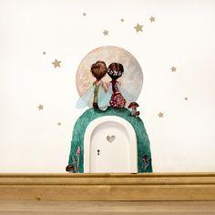 Kinderzimmerdekoration - Elfentür mit Wandtattoo Elfen Pärchen mit Mond e10 - ein Designerstück von IlkaParey bei DaWanda
