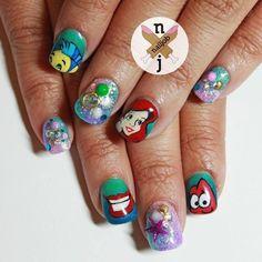 Ariel [as a mermaid feat. Flounder & Sebastian] (Nails by NailiJob @Instagram) #TheLittleMermaid